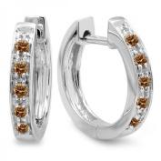 0.15 Carat (ctw) 10K White Gold Ladies Huggie Hoop Earrings