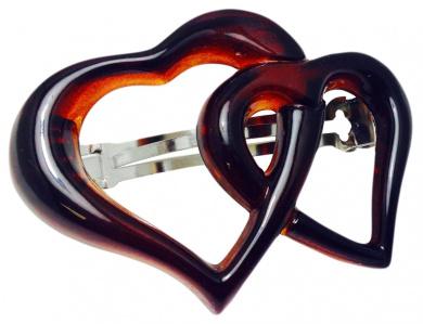 Parcelona French Twin Heart Strong Grip Celluloid Tortoise Shell Medium Automatic Hair Clip Hair Barrette - 7cm