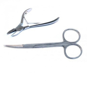 Heavy Stainless Steel Cuticle Nipper & Scissors 2 PIECE Combo Pack - Best Professional Nail Cutter Handle W/ Stainless Steel Trimmer Remover-Manicure And Pedicure Clipper Tool - Precise Fingernail And Toe Nail Designs - Men and Women - [BUNDLE PACK]