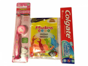 Hello Kitty Firefly Toothbrush Kit Bundle with Colgate Kids Toothpaste and Plackers Mixed Berry Flavour Kids Dental Flossers