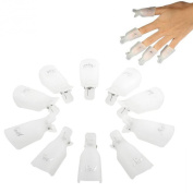 Coromose® 10PC Plastic Nail Art Soak Off UV Gel Polish Remover Wrap Tool