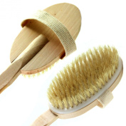 Best Bath Body Brush - Back Scrubber Exfoliating Cleansing with Premium Quality Natural Boar Bristles, Detachable Wooden Long Handle, Grip Handler with Strap, Wet or Dry Skin Brush. For Men and Women