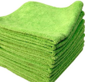 GHP 192 16x16 Lime Microfiber Towel Polish Cleaning Cloths Bulk