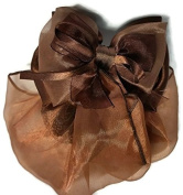 Women Brown Flower Bow Hair French Clip Snood Net Bun Cover Barrette