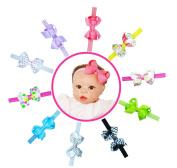 Baby Girl Interchangeable Headbands Newborn Toddler Girl Grosgrain Hair Bow Alligator Clips and headbands 20pcs Set B by ColorBeBe