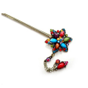 Hexagon Shape Flower Crystal Rhinestone Tassels Hair Pin Comb Fork Hair Stickfor Women/Girls,Set of 1,Red