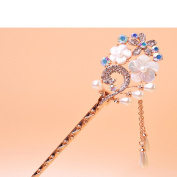 Pearl Crystal Rhinestone White Flower Hair Pin Hair Fork Hair Stickfor Women/Girls,Set of 1,White