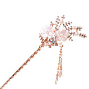 Pearl Crystal Rhinestone White Flower Hair Pin Comb Fork Hair Stickfor Women/Girls,Set of 1,