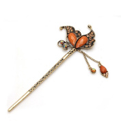 Fashion Crystal Rhinestone Butterfly Shape Pin Comb Fork Hair Stick for Women/Girls,Set of 1,Champagne gold