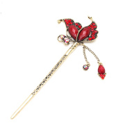 Fashion Crystal Rhinestone Butterfly Shape Pin Comb Fork Hair Stick for Women/Girls,Set of 1,Red