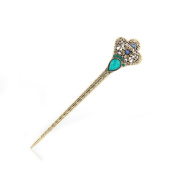 Women's Girls' Fashion Crystal Rhinestone Diadema Shape Pin Comb Fork Hair Stick,Set of 1,Blue