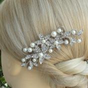 Sindary Wedding Headpiece Bridal Hair Accessories Silver-tone Pearl Rhinestone Crystal Wedding Hair Comb