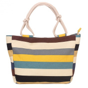 Fieans Ladies Leisure Colourful Stripe Canvas Handbag Shopping Beach Bag