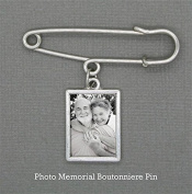 Wedding Boutonniere Memorial Photo Charm w/ Pin Set For Groom Father Of the Bride Groomsmen