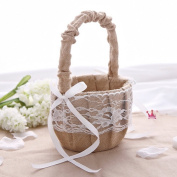 Hessian Burlap Lace Flower Girl Basket Rustic Wedding Decoration Favour