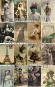 Vintage Printed French Post Cards Collage Sheet 101 Labels, Scrapbooking, Decoupage
