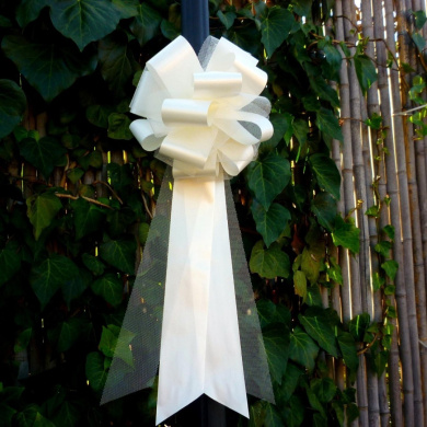 Ivory Tulle Wedding Pew Pull Bows - 23cm Wide, Set of 6