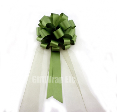 Olive Green Wedding Pull Bows with Tulle Tails - 20cm Wide, Set of 6