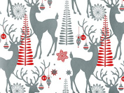 Silver Reindeer & Ornaments Christmas Gift Wrap Paper - 4.9m Roll