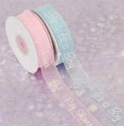Organza Printed Baby Shower Ribbon Blue 2.2cm 24 Yard Roll