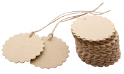 UZZO 100 Pcs Scalloped Round Kraft Hang Tags With Free Jute Twines for Wedding Kraft Paper Tag,Lolly Bag,Favour Gift Tags & Price Tags