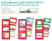 Christmas Gift Tags Self Stick Adhesive Stickers Holiday Present Labels 108 Count of Assorted Designs Santa, Reindeer, Trees, Holly