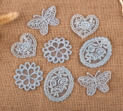 8 x Vintage Mixed Blue Lace Motifs Patches Sewing Sew on Stick on Crochet
