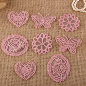 8 x Vintage Mixed Pink Lace Motifs Patches Sewing Sew on Stick on Crochet