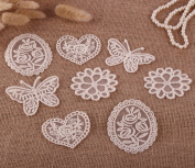 8 x Vintage Mixed Cream Lace Motifs Patches Sewing Sew on Stick on Crochet