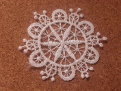LM3 - 10 WHITE Vintage LACE Crochet Sew On Fabric Flower Motifs, Patches GUIPURE