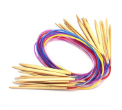 DDLBiz 18Pc 80cm Colourful Plastic Tube Carbonised Bamboo Knitting Needles Tool
