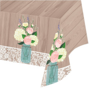 Pack of 6 Rustic Wedding Disposable Rectangle Plastic Banquet Party Table Covers 260cm