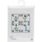 Thea Gouverneur 18 Count Antique Tiles, Flowers on Aida Counted Cross Stitch Kit, 28cm x 28cm