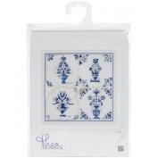 Thea Gouverneur 18 Count Antique Tiles, Floral Vases on Aida Counted Cross Stitch Kit, 28cm x 28cm