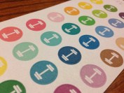 Planner Glitz 4 Sheets Decorative Planner Stickers - Dumbell/Weights - Circles, Multicoloured