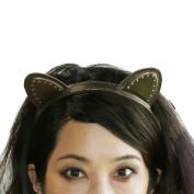 Miss Kitty Ariana Leather Stud Cat Ear Headwear Headband - Bronze