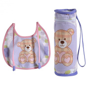 Digitally printed 300 TC Cotton Quilted Bib And Bottle Cover Set For Infant Kids-Teddy