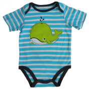 Jumping Bean Infant Boys Blue Striped Whale Creeper Style Snap Bottom T-Shirt