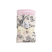 LUXE BABY Toile Cotton Blanket, Black/Pink