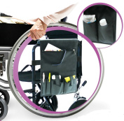 Practik Arm Rest Multi-Pocket Wheelchair Organiser. Made of strong and durable material. To Use for Personal Belongings and Essentials While on the Go or for in House Use. Front Zipper Pocket, Two Pen Slots, Two Pockets with hook and loop Flap Closure for