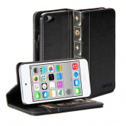 GMYLE Book Case Vintage for iPod Touch 5 - Black PU Leather Wallet Stand Case Cover