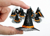Package of 12 Miniature Natural Sinamay Witch Hats with Harvest Orange Band 5.1cm Diam From Brim to Brim