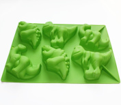 X-Haibei Large 6 Dinosaurs Chocolate Cupcake Cookie Muffin Soap Silicone Mould Kids Gift