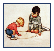 Brothers Playing Jacks By Jessie Willcox Smith Counted Cross Stitch Chart