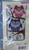 Stitch and Zip Preassembled Needlepoint Kit to Make Eyeglass or Cellphone Case Owls