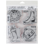 Stampers Anonymous Tim Holtz Cling Rubber Stamp Set, Christmas Blueprints, 18cm by 22cm