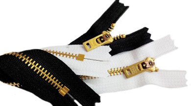 Zipperstop Wholesale YKK® Zipper Two 18cm Brass Jeans Zipper YKK Number 5 Gold Coloured Metal Teeth Zips with Locking Slider Closed Bottom Colour Black and White
