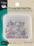 Long Colour Ball Point Pins-Size 24 75/Pkg - 642202