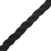 2-Yards 12mm Twisted Craft Cord for pillows, lamps, draperies, Black, SCH-403