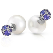 14k White Gold Fashion Style Tribal Double Shell Pearl and Tanzanite Stud Earrings